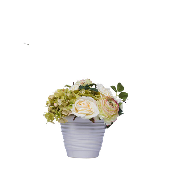 MIXED BOUQUET IN WHITE WAVY POT