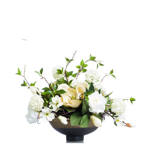 White MagnolIA & Snowball & Peony in a Bronze Bowl