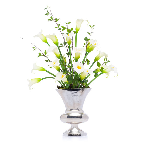 White Callas & Birch in a Silver Oval Urn