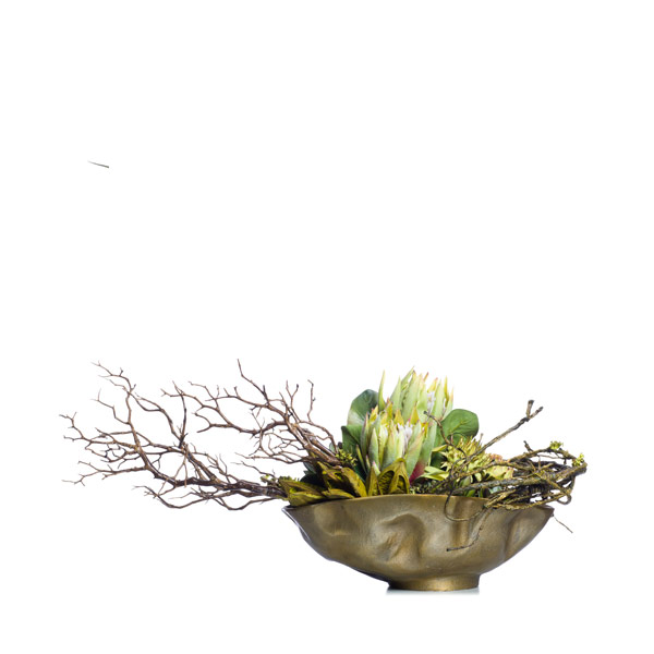 KING PROTEA & ARTICHOKE & SUCC IN GOLD BOWL
