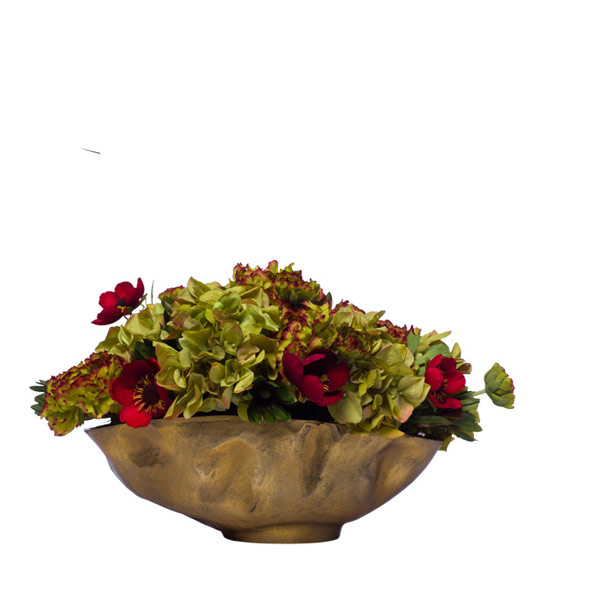 MIXED FLOWE IN GOLD BOWL