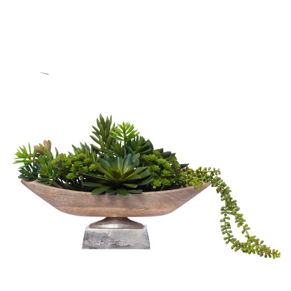 MIX SUCCULENTS IN WOOD BOWL W/METAL BASE