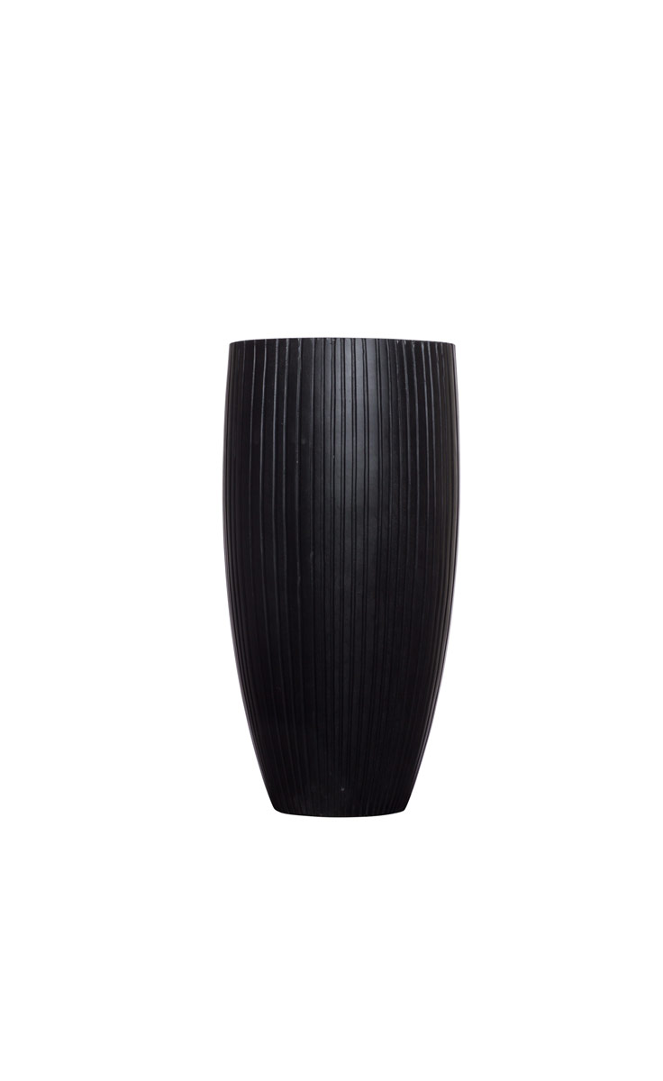 Small Tall Black Ribbed Tappered Pot