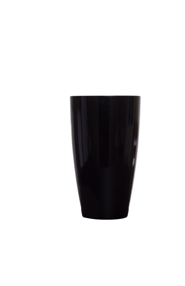 Small Tall Black Shiny Tappered Pot