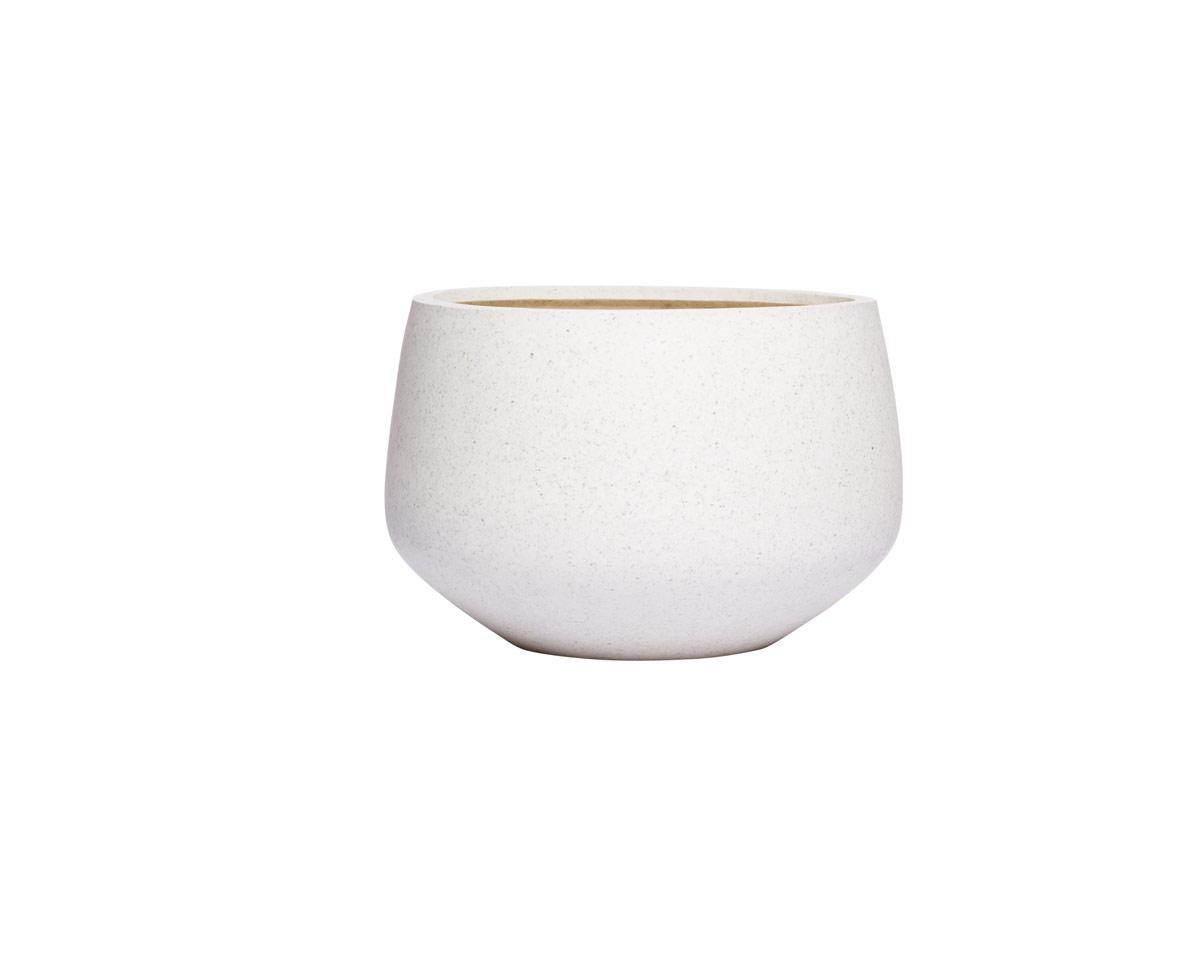 Small Short White Terrazzo Round Pot