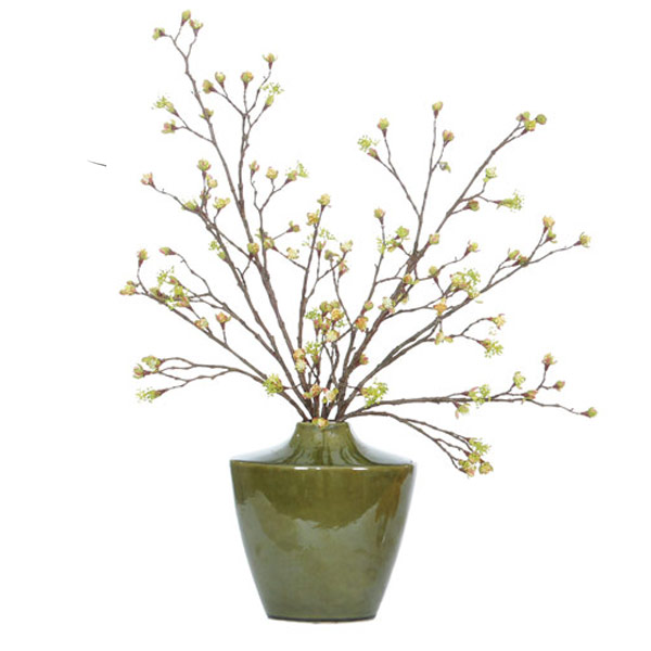 Yellow Bud Branch in a Ceramic Container