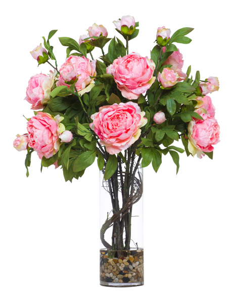 Light Pink Peonies in Cylinder Waterlike