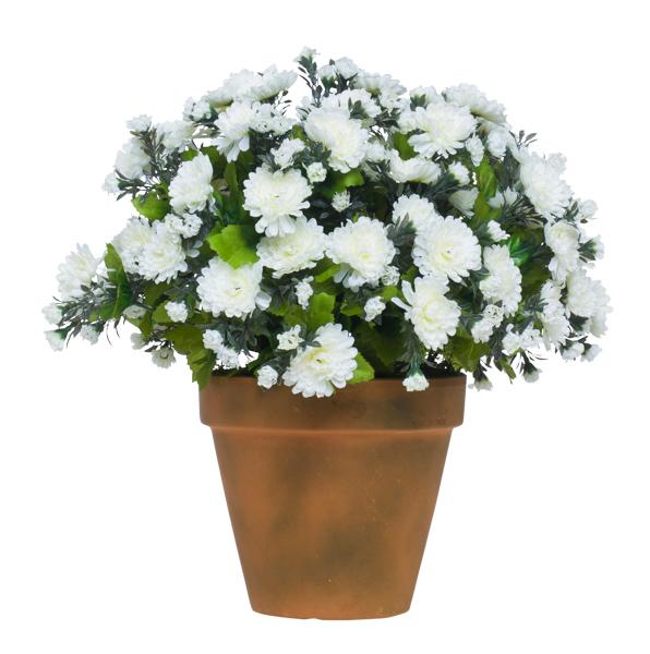 Lg. White Mum Pot