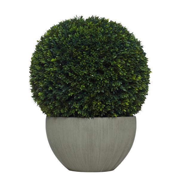 Topiary Mini Boxwood Ball in Taupe Bowl