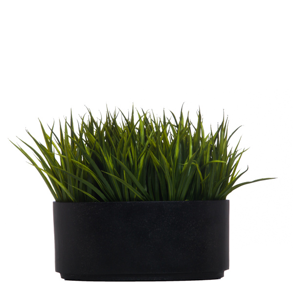 Large Grass in Oval Black Terrazzo Container