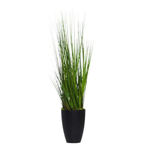 Small Grass in Black Terrazzo Cylinder