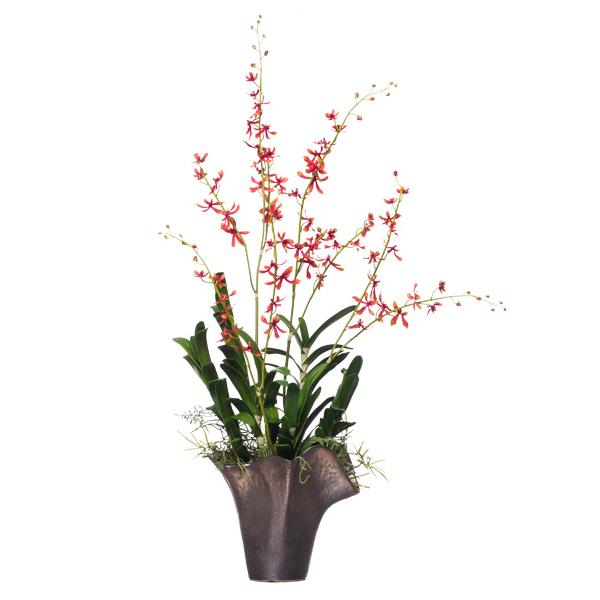 Exotics orchids lux art silks rust james story vanda in chanterelle vase mightylinksfo