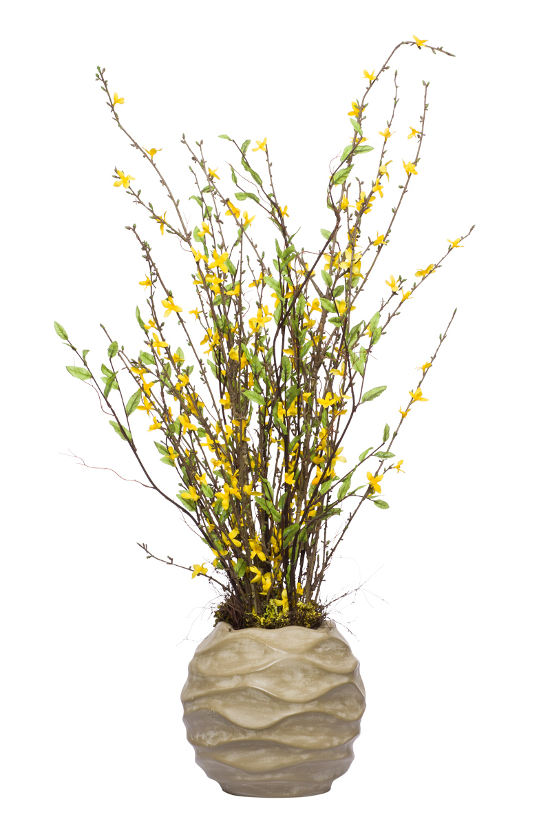Yellow Forsythia in Beige Wavy Bubble