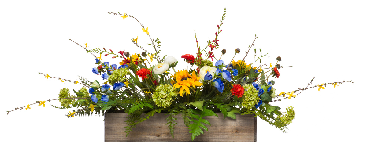 Mixed Flowers in Long Wood Box