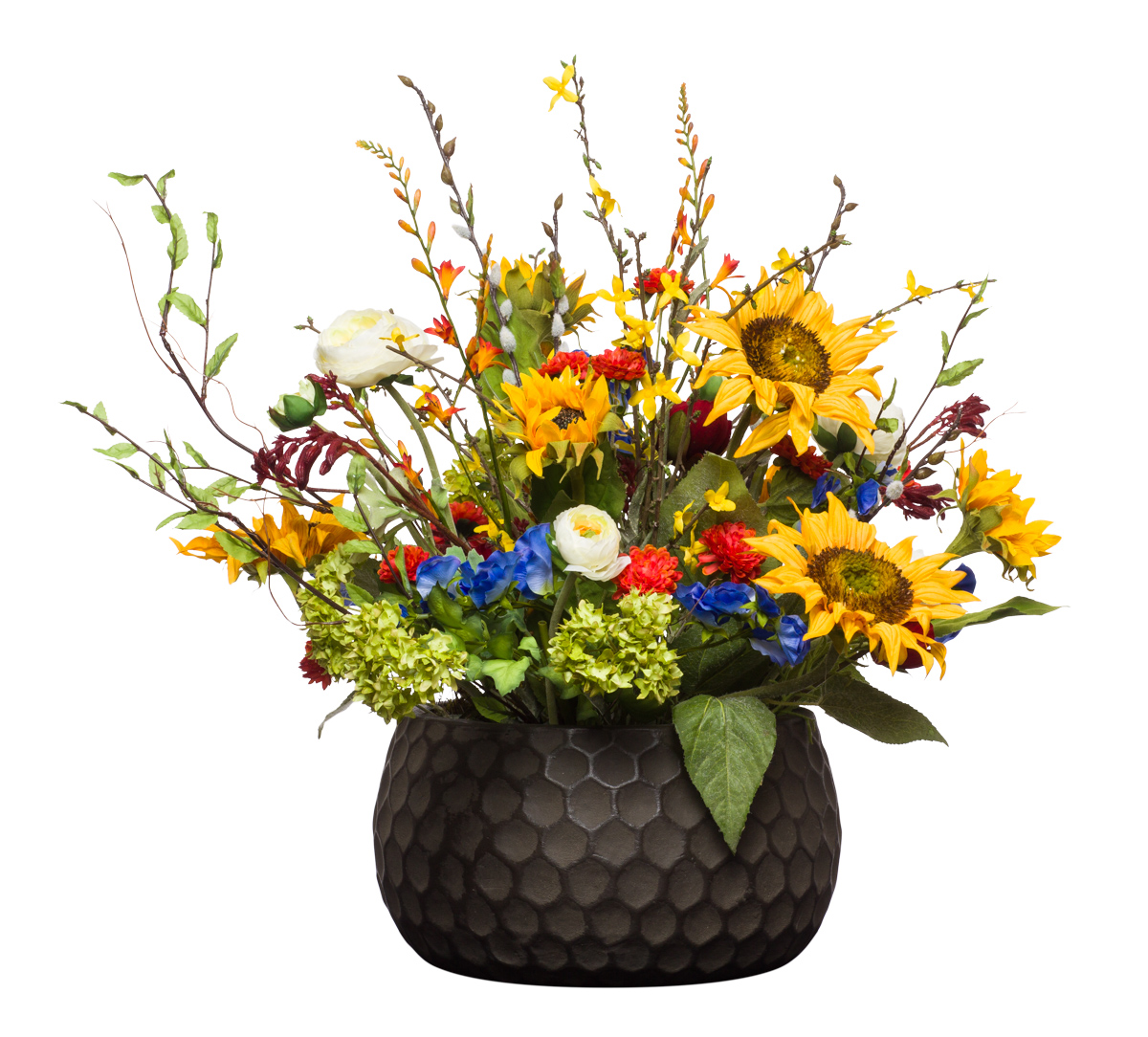 Mixed Flowers in Brown Honeycomb Bowl