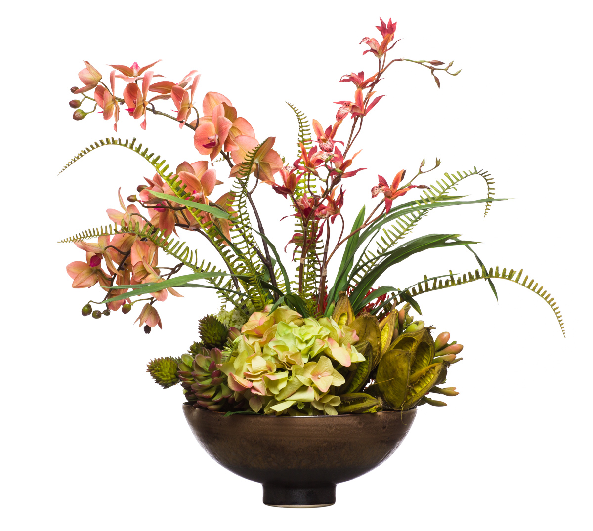 Orchids & Mix Flowers in Copper Bowl