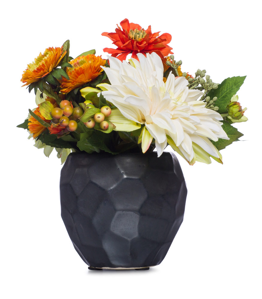 OR / CR / GR Mix Floral in Blk Pot