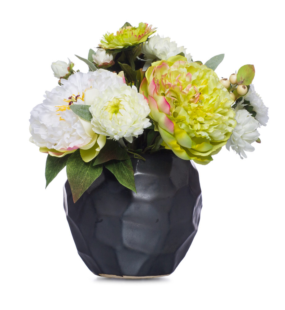 GR / WH Peony & Mum in Blk Pot