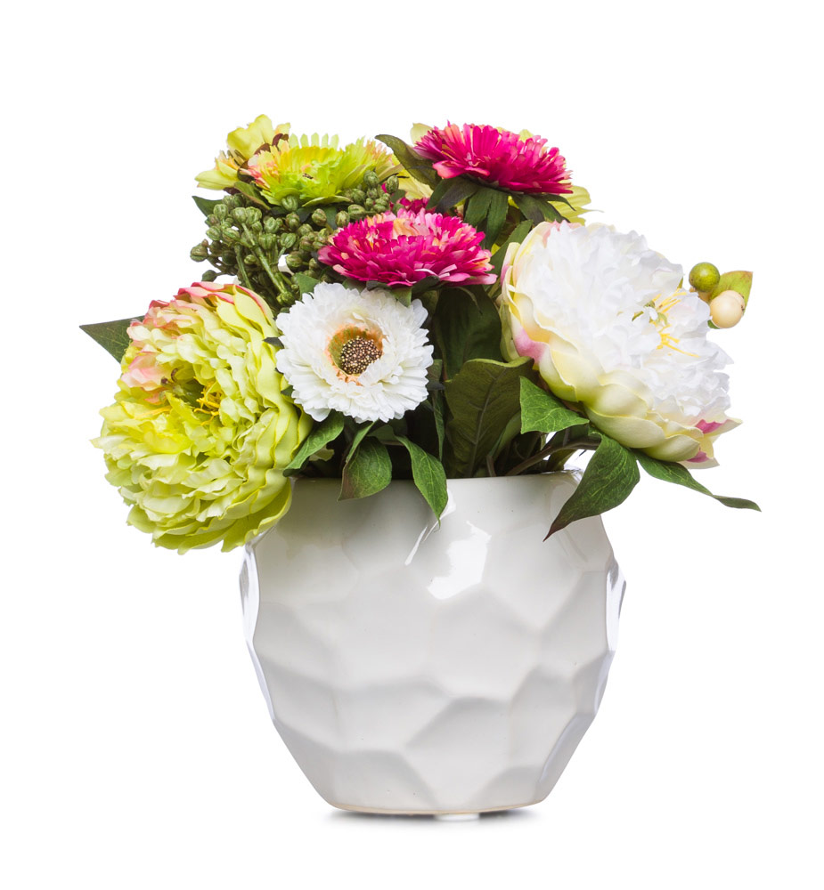 CR / GR / MU Mix Mum & Peony in Wht Pot