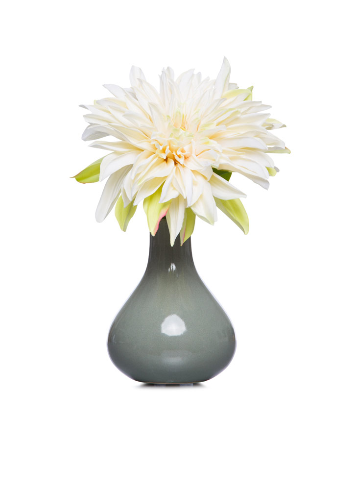 CR Single Dahlia in Grey Bud Vase