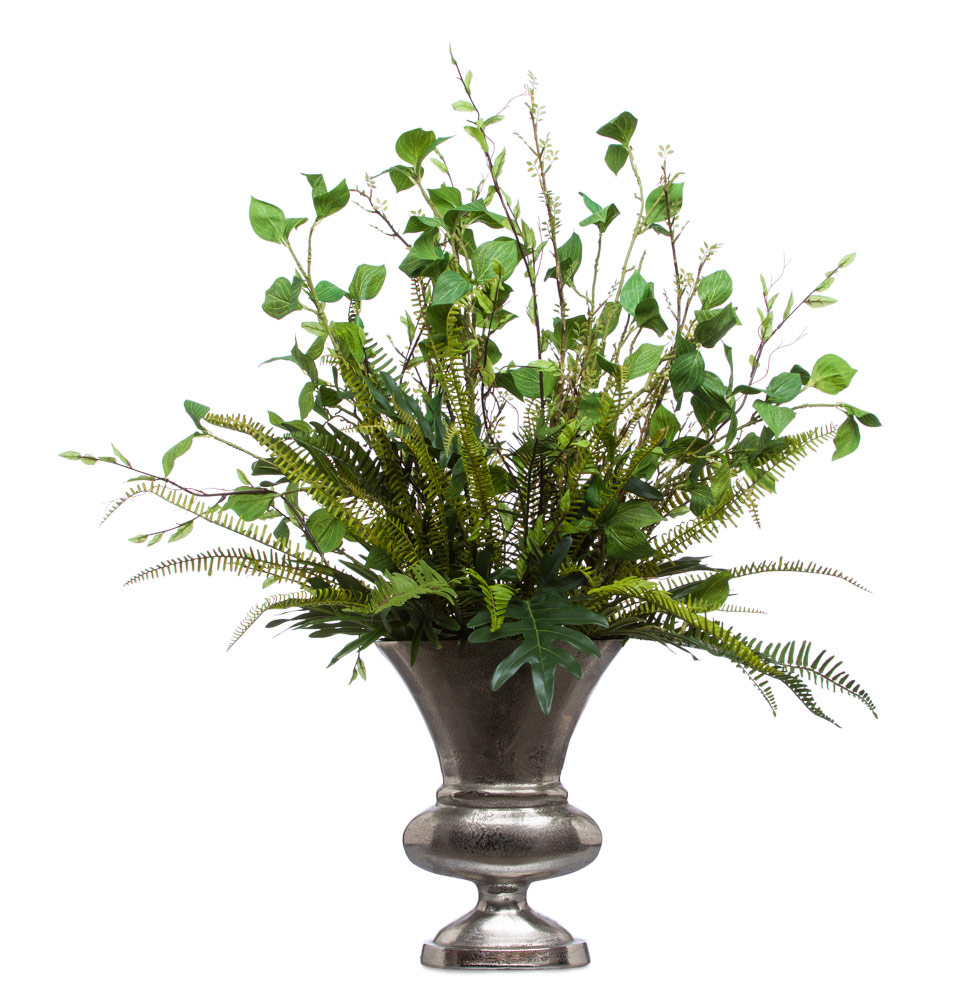 Mixed Greens in Silver Oval Vase
