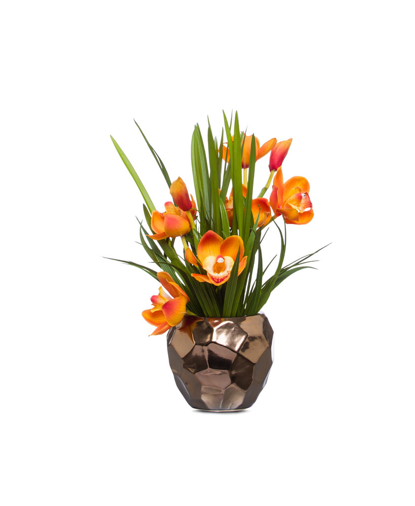 Gold Cymbidium in Copper pot