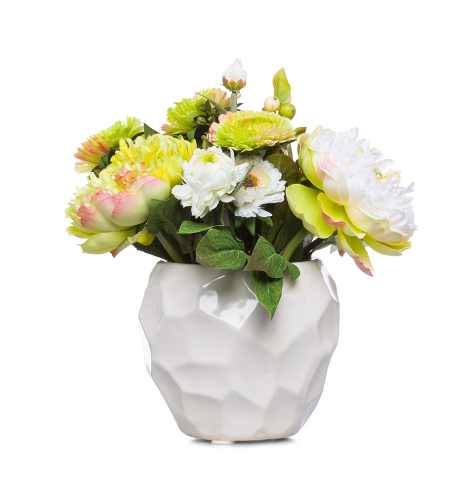 Cream / Green Floral in White Pot
