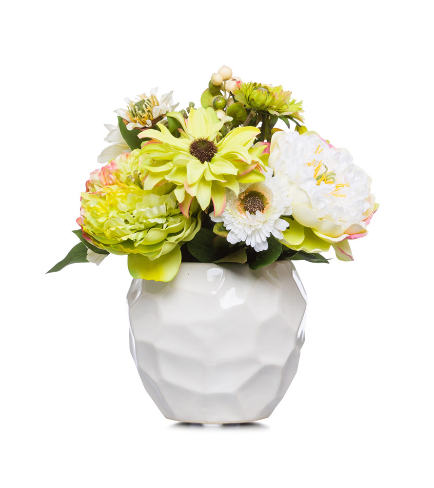White / Green peony & Daisy in White Pot