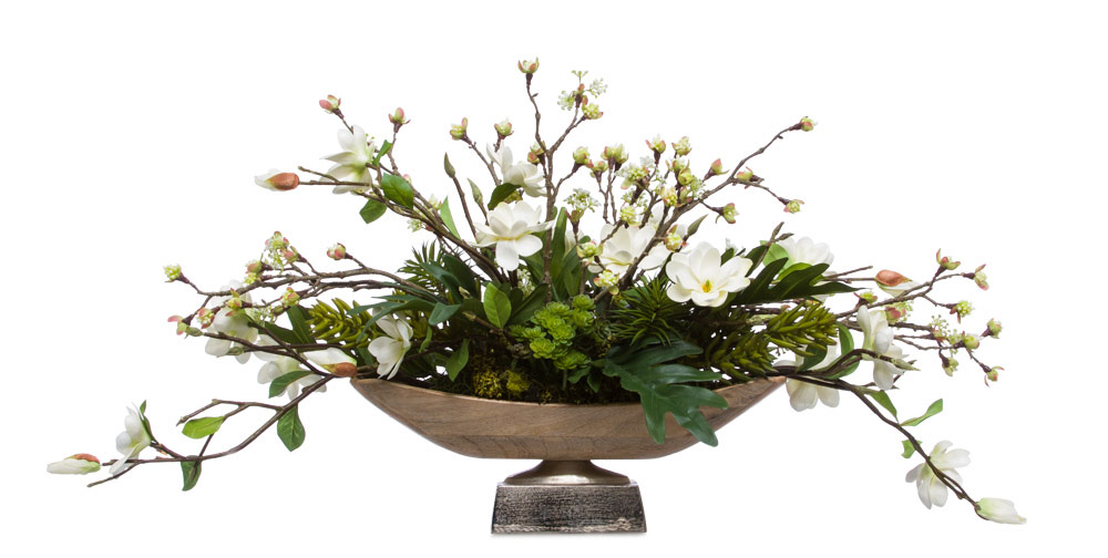 White Mini Magnolia in Rectangle Wood Bowl Pedestal
