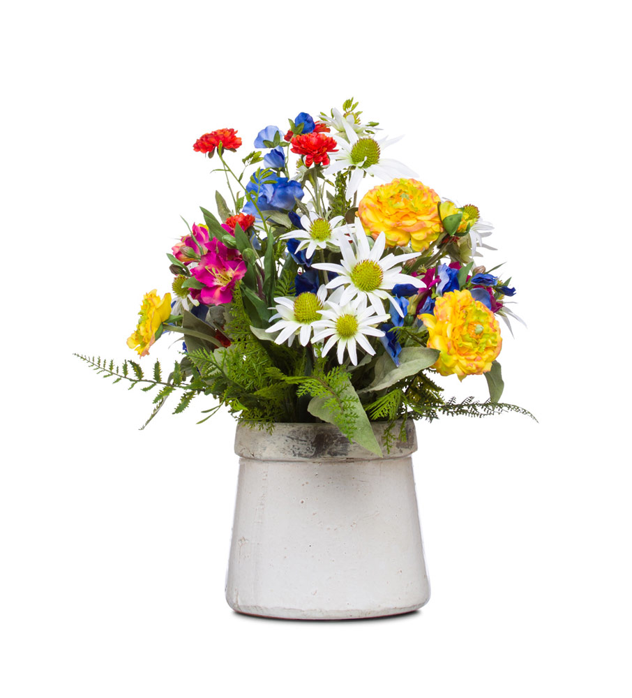 Mixed Flowers in Large Stoneware Pot