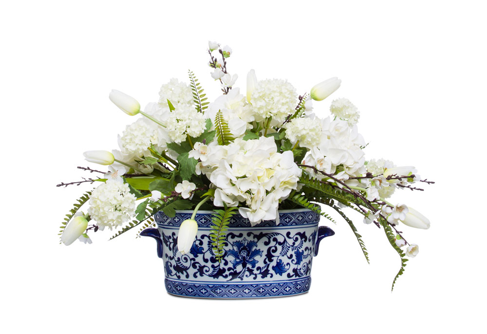 White mixed Flowers in Blue / White Pot