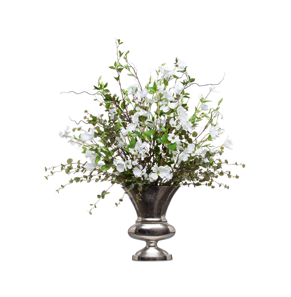White Dogwood in Silver Urn