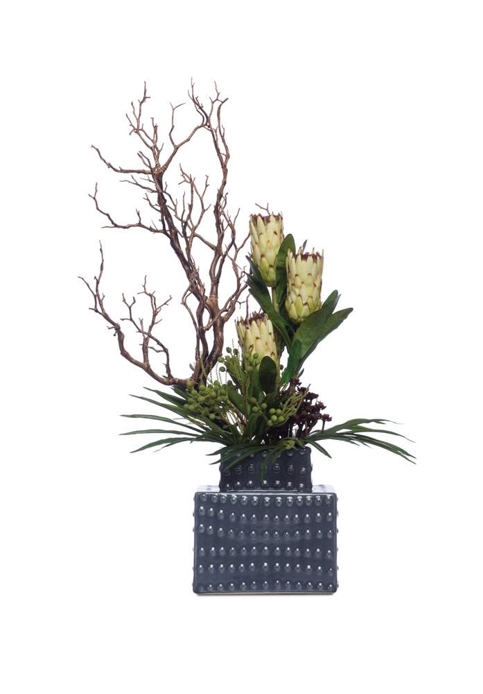 Protea & Manzanita in Grey Tower Vase