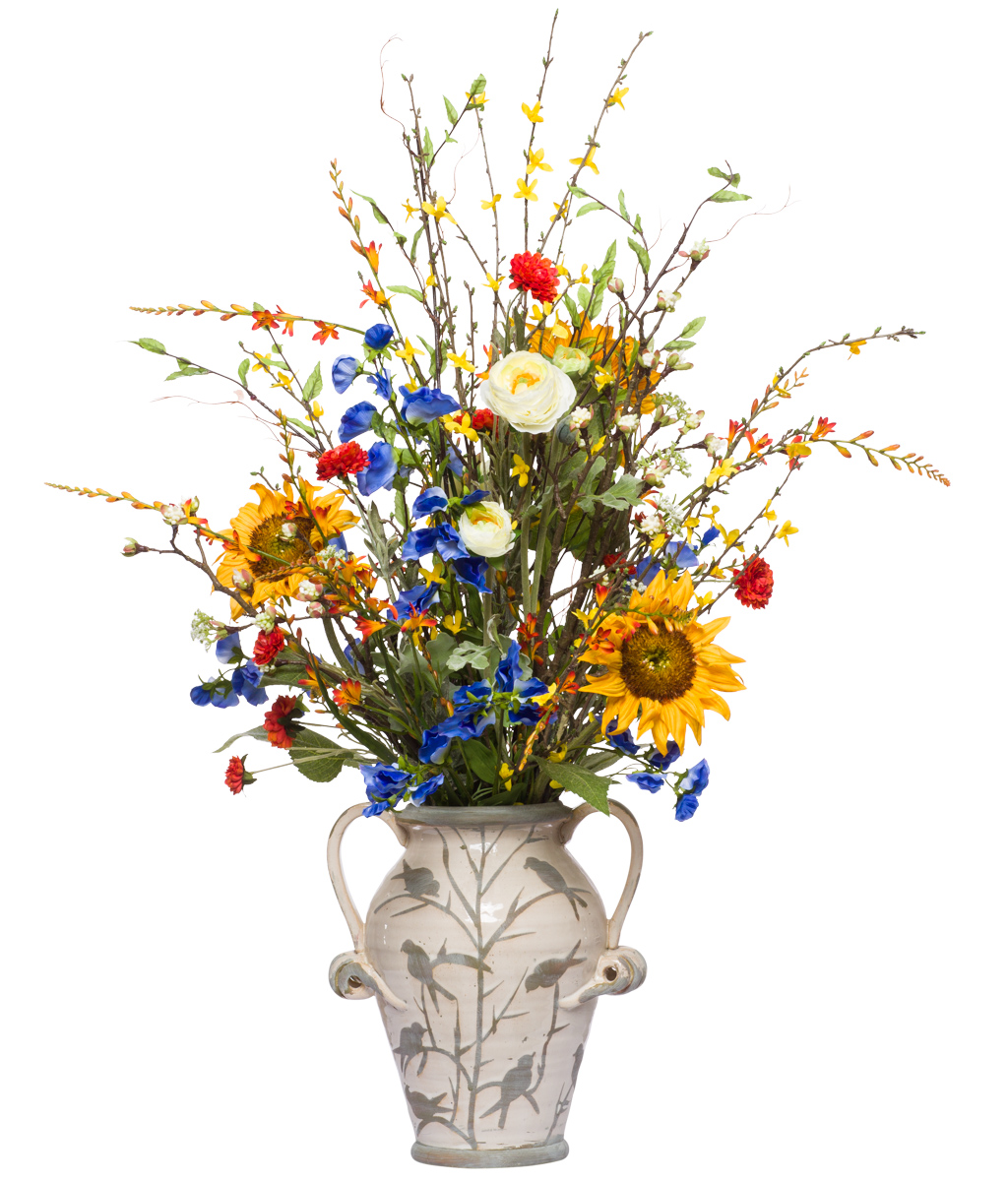 **Mixed Wildflowers in Small Bird Vase