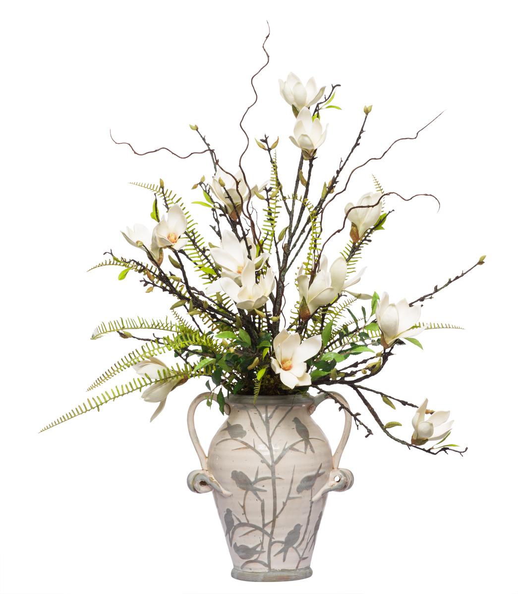 ** Magnolia Fream Spray in Small Bird Vase