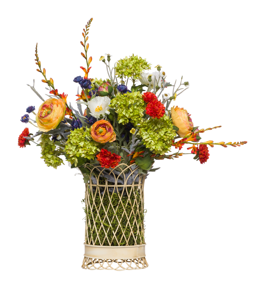 ** Mixed Flowers in White Wire Basket