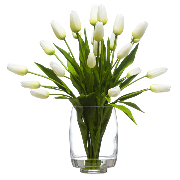 18 White Tulips Waterlike