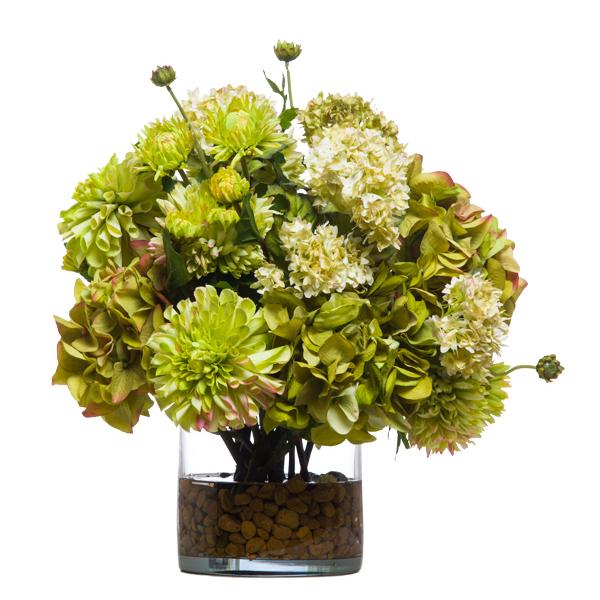 Zinnias/Green Hydrangeas Waterlike
