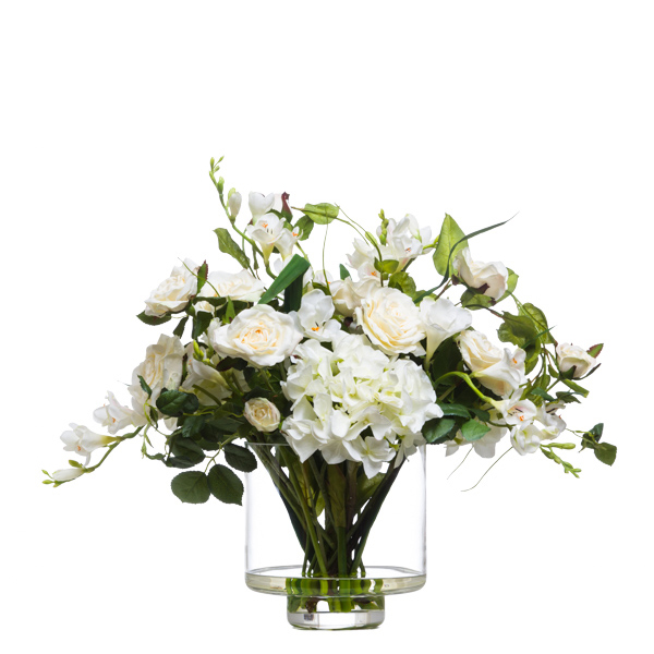 Mixed Cream/White Hydrangea/Roses Footed Waterlike