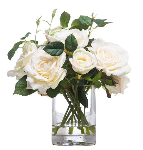 White Roses in Sm. Cylinder Waterlike
