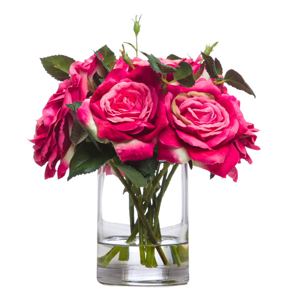 Roses in Sm. Cylinder Waterlike Pink
