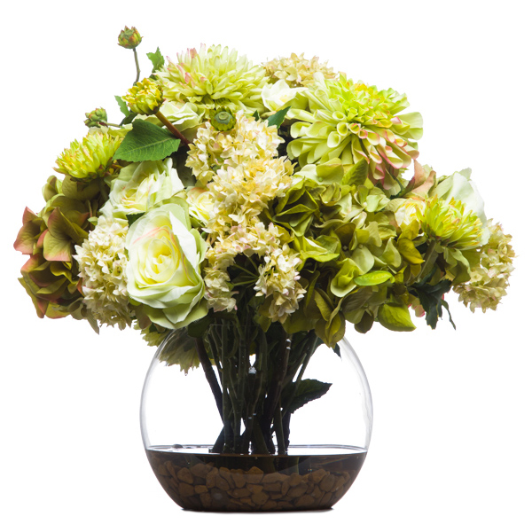 Green Hydrangea/Roses Waterlike