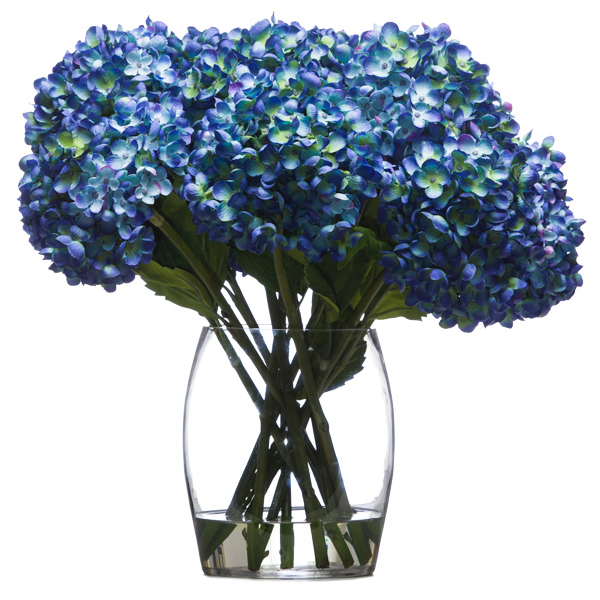 Blue Hydrangea in Barrel Vase Waterlike