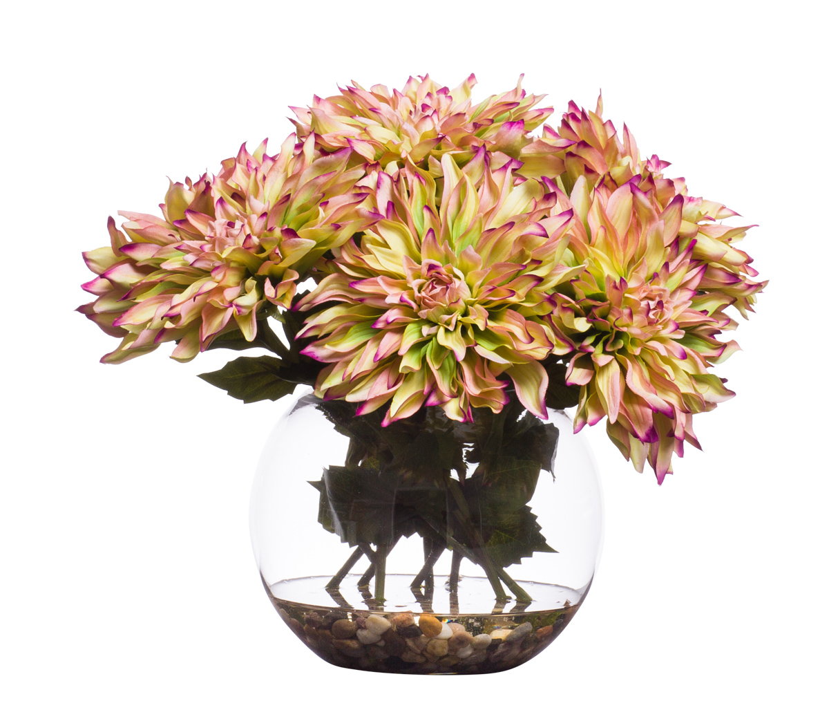YL GR / PU Dahlia in Med Bubble Waterlike