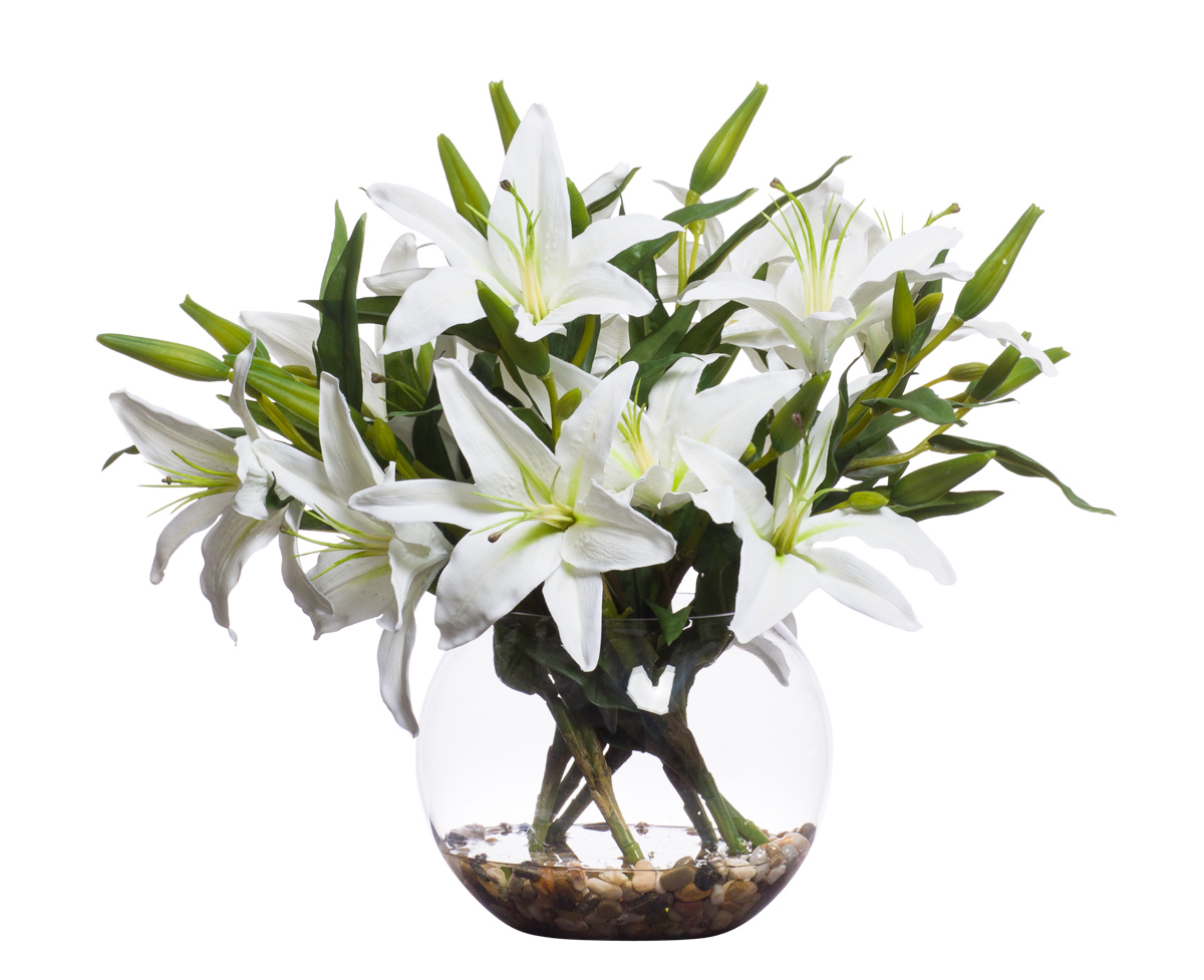 White Lillies in Med Bubble Waterlike