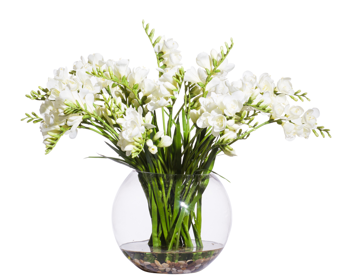 White Freesia in Large Bubble Bowl