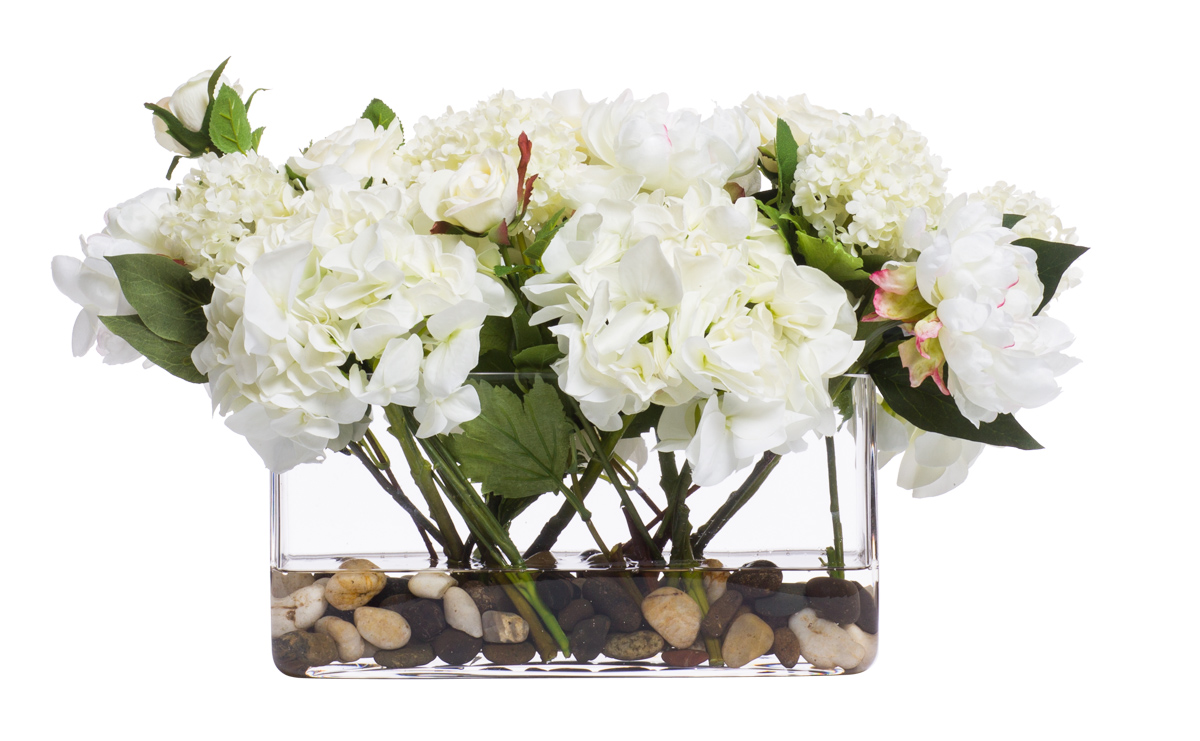White / Cream Hydrangea in Rectangle Glass Waterlike