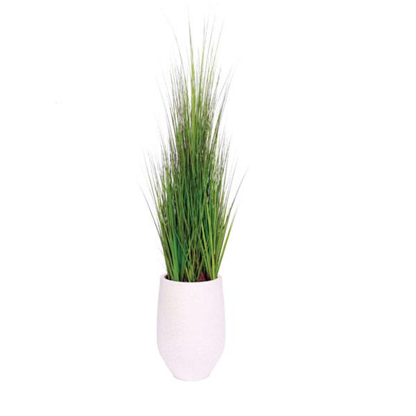 5.5' GRASS IN WHITE TERRAZZO ROUND POT