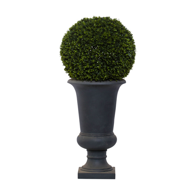 Med. Mini Boxwood Ball in Grey Urn