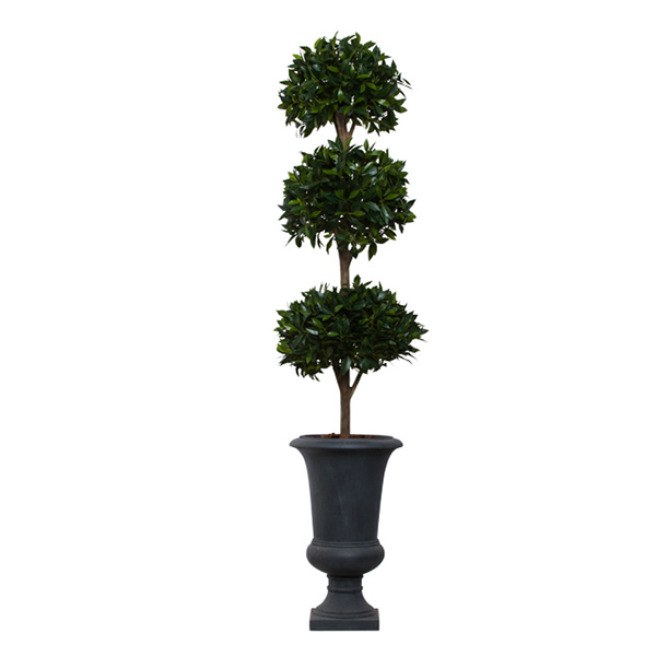 3-Ball Bay Leaf Topiary in Grey Urn